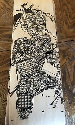 Fighting Samurai - Wall Art Custom Laser Engraved Wood Skateboard Deck 7.75""