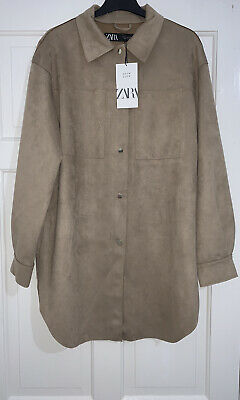 ZARA SS20 CAMEL OVERSIZED FAUX SUEDE COLLARED OVERSHIRT PATCH POCKETS SIZE S NEW