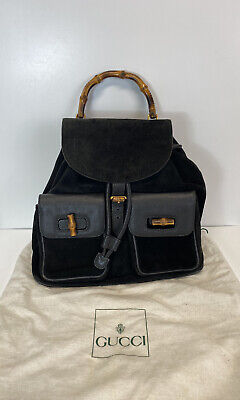 Rare Vtg Gucci Black Suede Bamboo Backpack