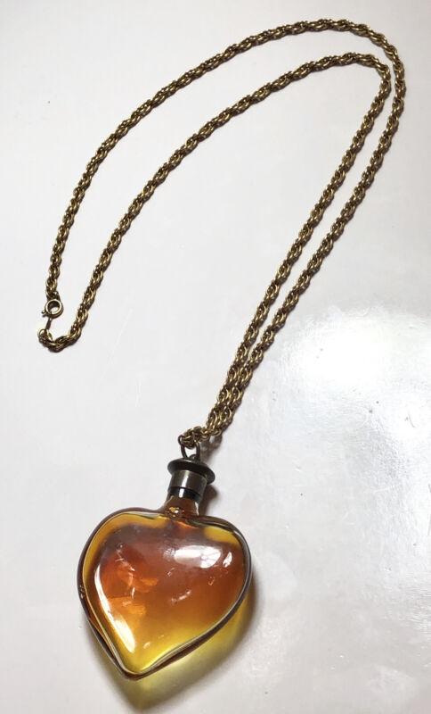 Antique Glass Heart Perfume Pendant Vintage Necklace