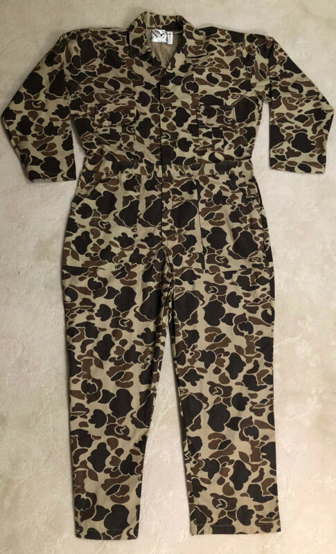 """NEW Vtg Duck Camo Coverall Duck Bay Hunting Suit Mens Sz L COTTON  29"""" Inseam"""