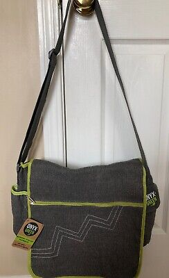 NEW Onyx and Green Gray Jute Cotton Eco-Friendly Messenger Bag Eco Friendly Messenger Bag