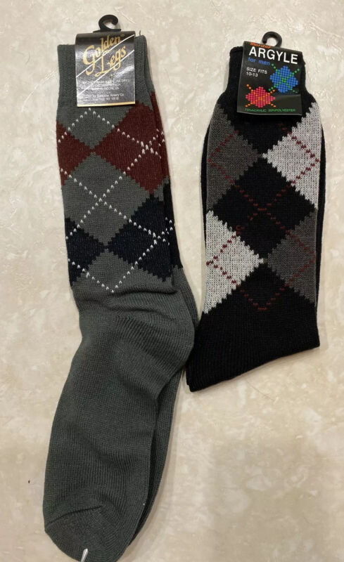 Vintage Argyle Socks NOS Lot of 2 Gray Black Men