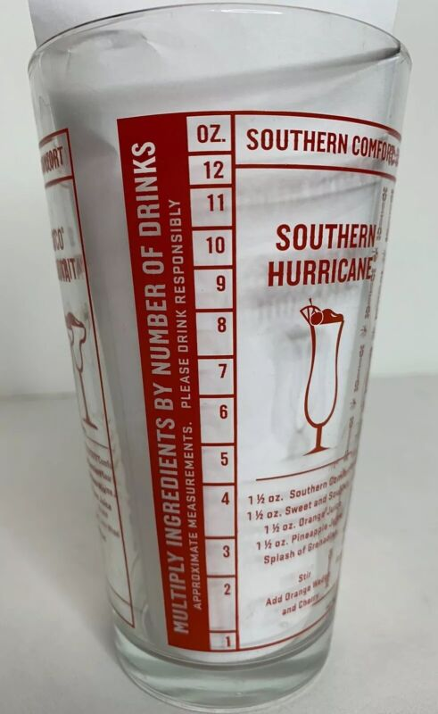 Southern Comfort Glass Tumbler Recipe Cocktail Bar Mixing Measure 12 oz Gift