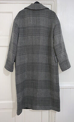 ZARA BLACK/GREY LONG DOUBLE-BREASTED CHECKED WOOL COAT SIZE M BNWT RRP£179