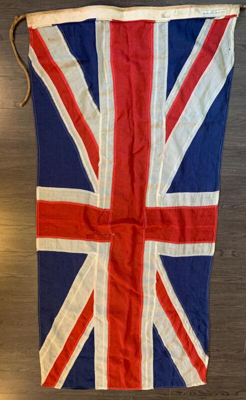 """WW2 Era Union Jack Flag Pattern Stitch 68"""" x 33.5"""" Wear Damage DPW Merchants awn"""