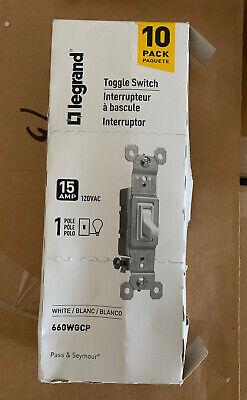 Legrand 10-pack One Toggle Switch 15amp 120vac White 660 Wgcp Free Shipping