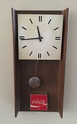 Vintage Antique Wood Mid-Century Coca-Cola Coke Pendulum Clock * 23.5 Long!