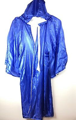 Satin Blue And White Cape Hooded Cloak Wizard Robes Costumes #w - White Wizard Robe