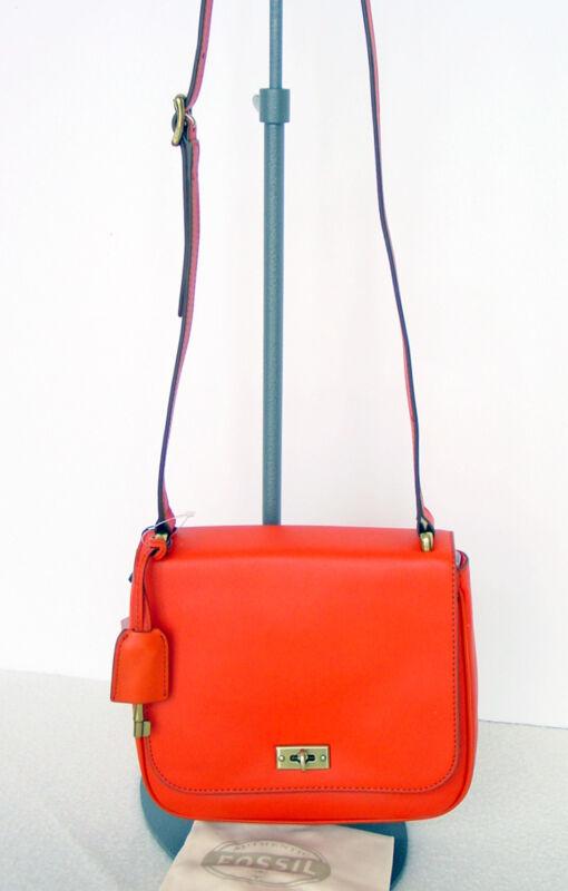 FOSSIL Leather Memoir Orange Cross Body Bag w/adjust.Strap+ Dust Bag  NWT $148
