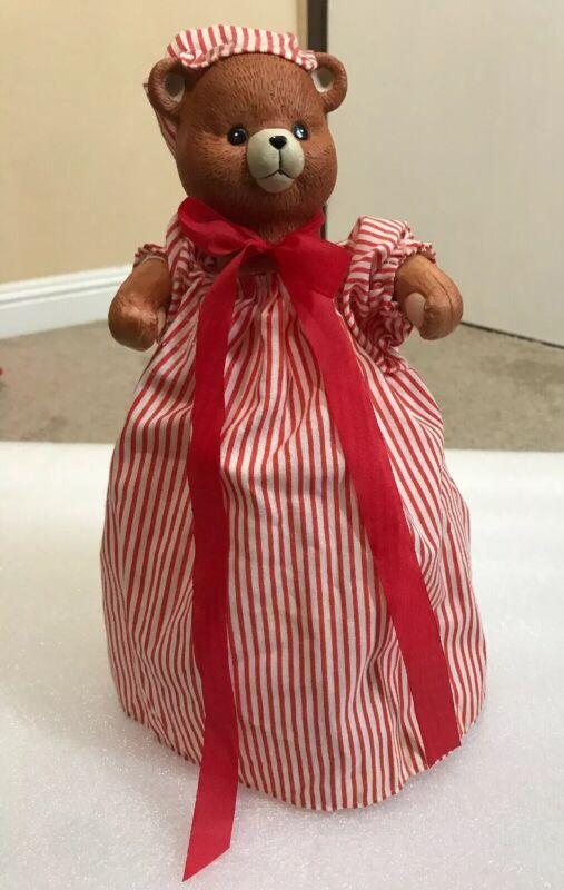 Vtg Porcelain Teddy Bear Tree Topper ~ Striped Christmas Nightgown & Hat