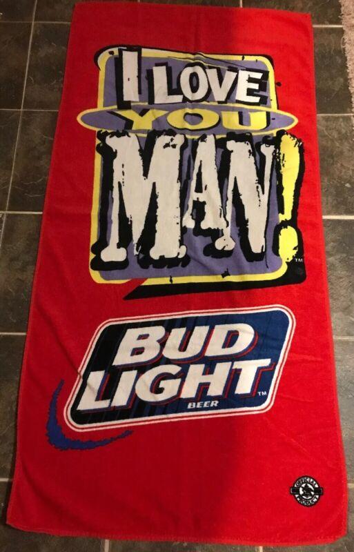 "Official Bud Light Beer Towel Love You Man 56"" X 28"" Hilasal B12"