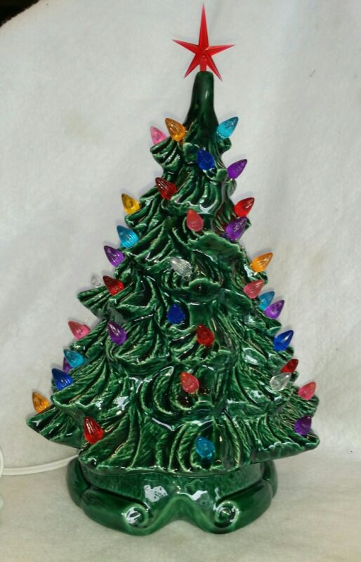 Ceramic Christmas Green Tree from Vintage Mold Ribbon base New made in USA
