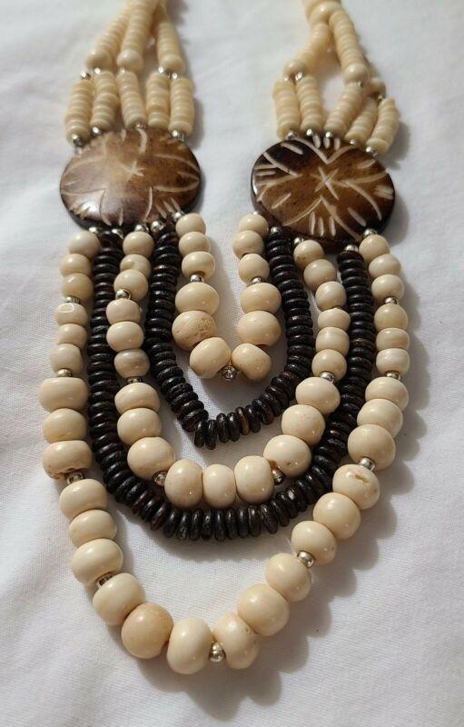 Vintage African Tribal Bone Bead Necklace