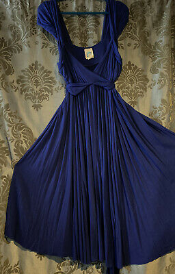 Anthropologie C.Keer Country Mile Empire Dress Large Royal Blue