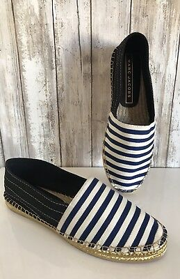 (Marc Jacobs Sienna Navy Blue White Stripe Gold Espadrille Shoes Flats 38 * RARE!)