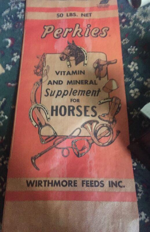 ANTIQUE VINTAGE GRAIN SACK WIRTHMORE FEED BOSTON BAG NATURAL Heavy Paper