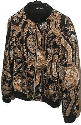 Zara Brand Jacket Mens Bomber Jacket Gold Emblems Print Size Small