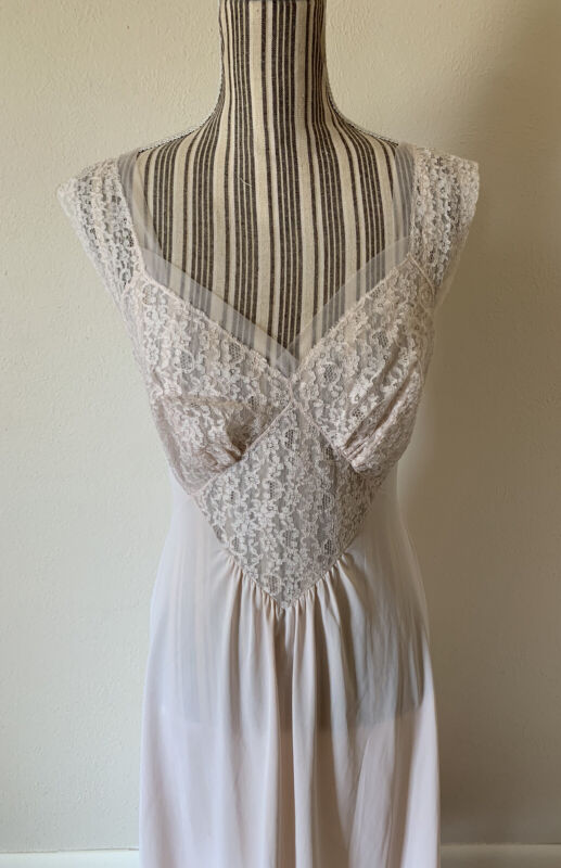 Vintage 1960S Lace Pink Nightgown Pinup Women's S/M