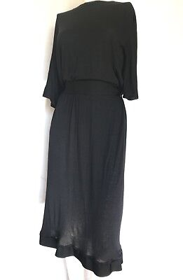 LANVIN Black Dress With Belt Knee-Length Sz 40 Us 6 M $1900