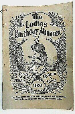 Vtg Almanac 1931 Ladies Birthday Ephemera Thedfords 5X8 Ads Medicine Antique