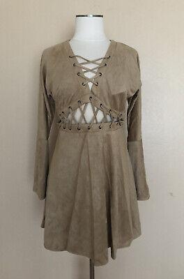 October Love Large Beige Short A-Line Dress Bell Sleeve Lace Up Front Back Zip