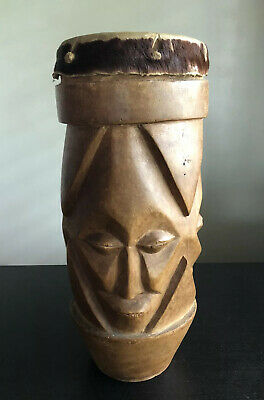 LARGE Vintage African Tribal Djembe Drum Carved 3 Faces Art Hide Leather UNIQUE, used for sale  Shipping to Nigeria