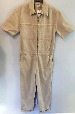 BNWT Bershka Denim Jumpsuit Boilersuit Beige Vintage Retro UK M 12 10