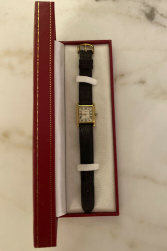 Ladies Vintage Swiss Cartier Tank 18k Gold Electroplated Manual Wind