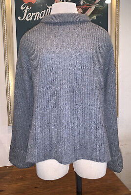 NWT Le Kasha Cuba 100% Cashmere Sweater in Mid Grey One Size