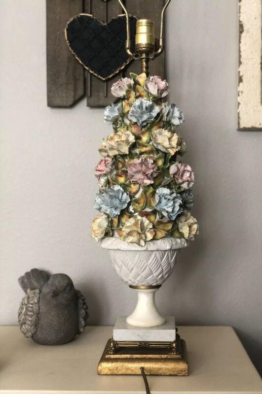 Tall Vintage Majolica Italy CAPODIMONTE Flower Lamp Basket Centerpiece Tree Look
