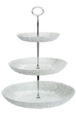 Wunderschöne 3 stufige Etagere aus strukturiertem Glas 3 Etagen Servierplatte