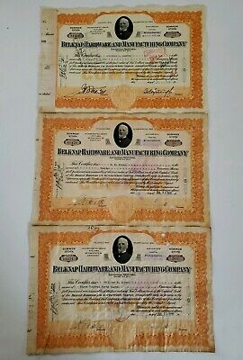 (3) Sequential 1930 Belknap Hardware & Manufacturing Company Stock Certificates