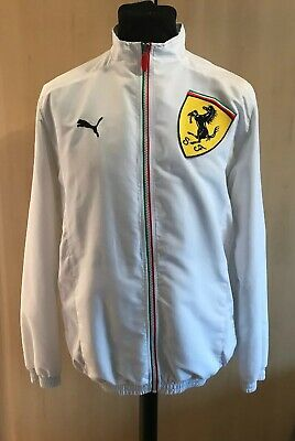 Puma x Ferrari White Jacket Size M Medium Full Zip logo Racing car