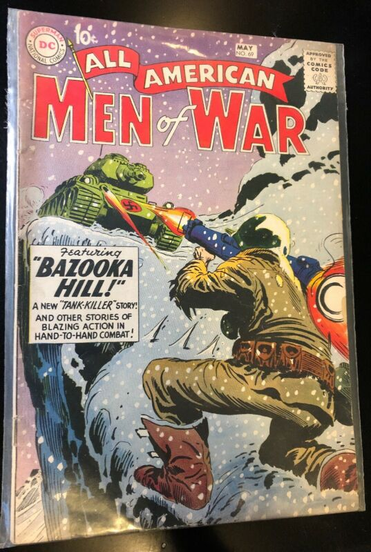 ALL AMERICAN MEN OF WAR #69 (DC 1959) 1ST TANK KILLER Joe Kubert Cover Fine-!