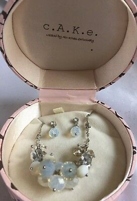 CAKE Boxed Cluster Opal Colored Crystal Necklace And Earring Set Retail $24.99