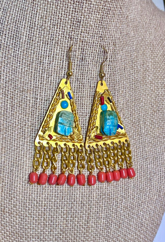 Antique/Vintage Egyptian Revival Gold Metal, Scarab & Coral Glass Earrings