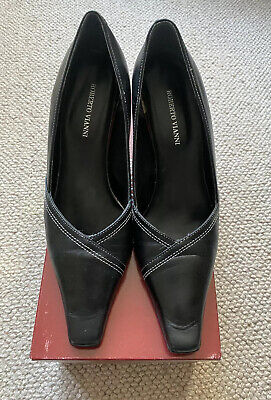 Used ROBERTO VIANNI Angora Ladies Black Leather Court Shoes Size 5 Size 38
