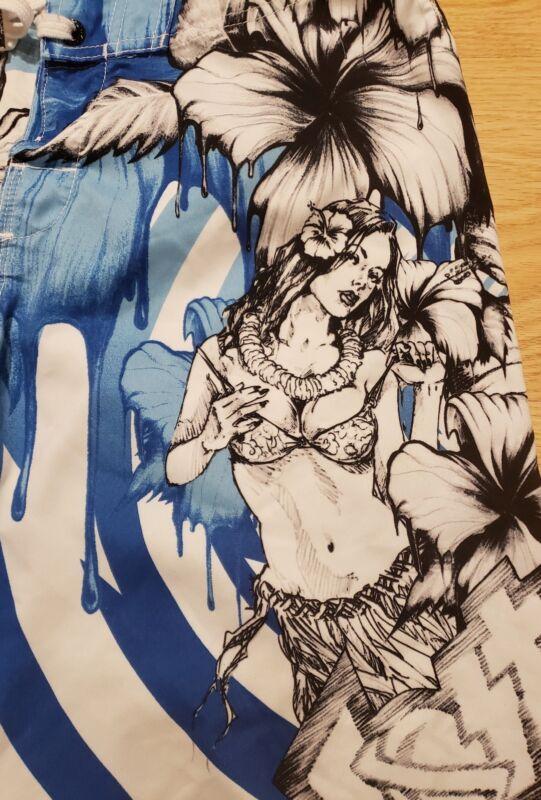 a6712ef6d3 ... VTG Lost Enterprises Mayhem Hawaiian Hula Pin Up Girl Surf Board Shorts  Trunks ...