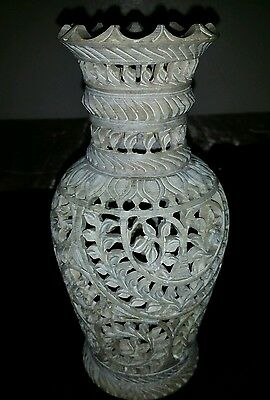 Antique Vintage China Natural Shoushan Stone Hand Caring Vase 8 5X3 5Inch