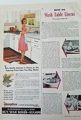 1943 Youngstown Steel kitchen by Mullins woman at sink wears apron ad