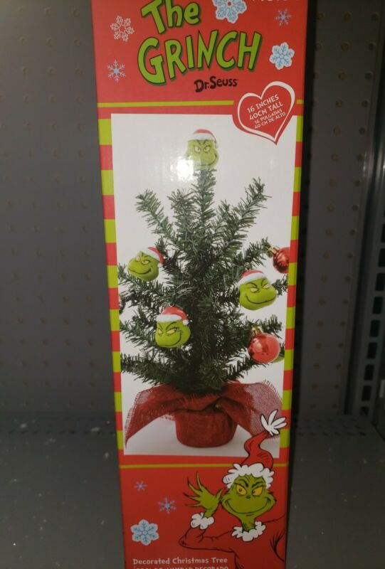 """The Grinch Dr. Seuss Decorated Christmas Tree 16"""" Tall Decoration Ornaments New"""