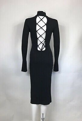 Rare Vtg Dolce & Gabbana D&G Black Lace Up Back Dress M