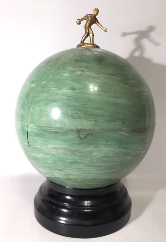Midcentury Modern Bowling Ball Bar 6 Shot Glasses Decanter 1950s Man Cave Rare