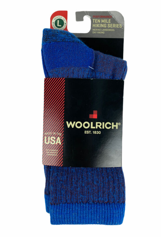 NEW Woolrich Ten Mile Hiking Series Merino Lambswool Socks Blue Mens Size L 9-12