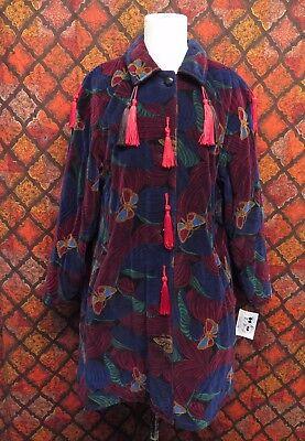 (Vintage Bottega Veneta Cotton Velvet Butterfly Print Tassel Coat Sz S/M)