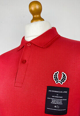 Fred Perry X Art Comes First Taped Pique Polo Shirt M|40 (Red)Mod Scooter Skins