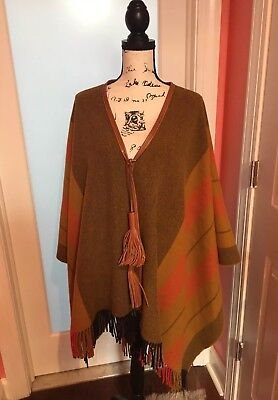 Hermes bivouac rocabar Leather Wool cashmere Cape Poncho coat jacket O/S