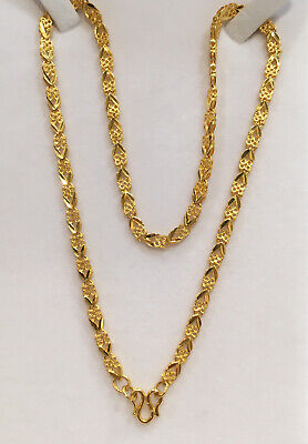 Pure 24k Solid Gold Shiny Chain Necklace. 18 Inches. 20.15 Grams