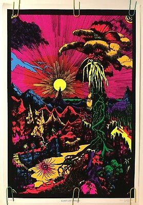 Original Vintage Blacklight Poster Lost Horizon 1970 Flocked Retro Pin-up 70s ()